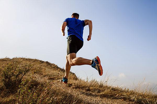 Running in autumn.